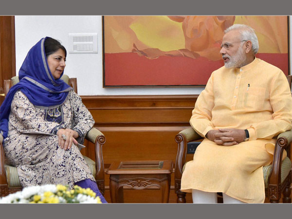 J&K CM Mehbooba Mufti interacts with Prime Minister Narendra Modi in New Delhi.
