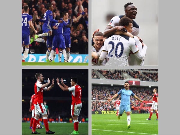 Chelsea (top left), Tottenham Hotspur (top right), Arsenal (bottom left), Manchester City (bottom right) (Image courtesy: Wembley Stadium Twitter handle)