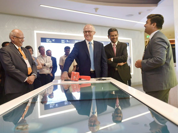Turnbull with TCS MD & CEO Rajesh Gopinathan during his visit to TCS Campus