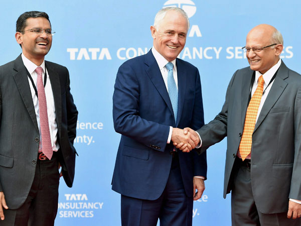 Turnbull with TCS MD & CEO, Rajesh Gopinathan and TCS COO N Ganapathy Subramaniam