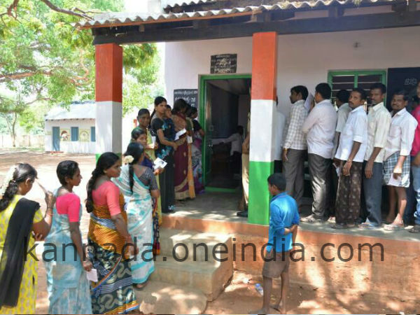Polling at a booth in Nanjangud