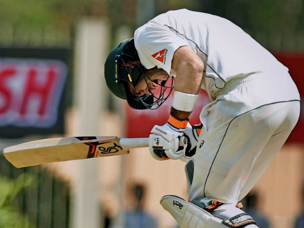 File photo: Glenn Maxwell celebrates after completing his maiden Test hundred during Ranchi Test