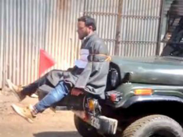 Man tied to a jeep in Kashmir