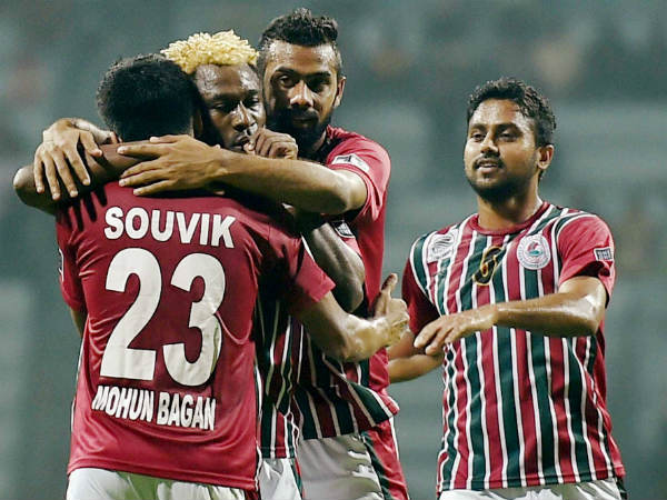 A file picture of Mohun Bagan players celebrating a goal