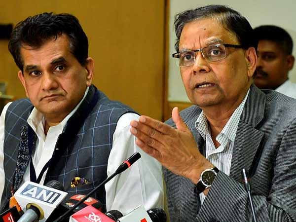 NITI Aayog Vice Chairman Arvind Panagariya addresses a press conference after the Governing Council Meeting of NITI Aayog in New Delhi on April 23.