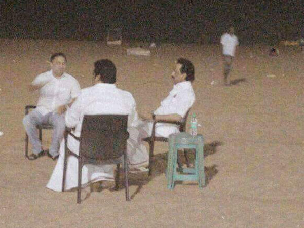 DMK's working President M K Stalin relaxing at the Marina beach