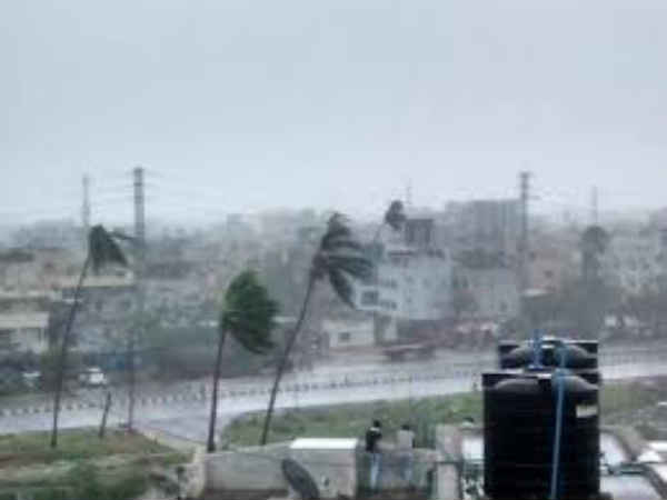 Houses destroyed by storm in Manipur
