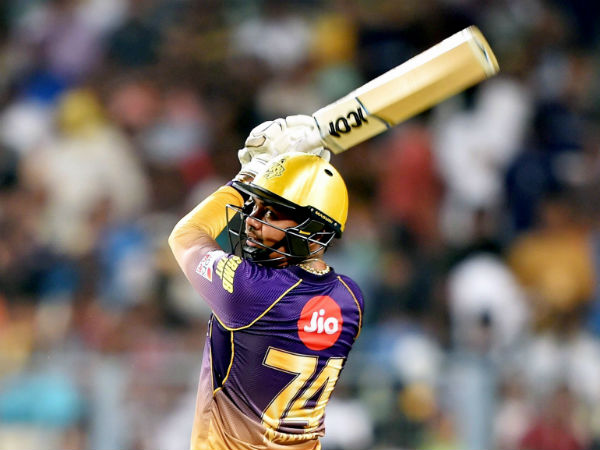 KKR's Sunil Narine plays a shot against KXIP