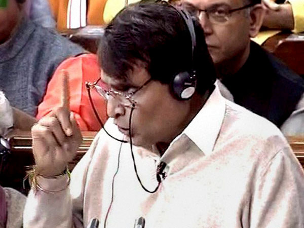 File photo of Railway Minister Suresh Prabhu speaking in the Lok Sabha