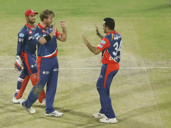 From left: Rishabh Pant, Corey Anderson and Zaheer Khan celebrate David Miller's wicket