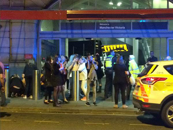 File photo of scene outside Manchester arena after bomb attack