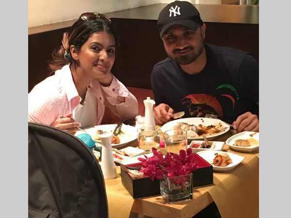 Harbhajan Singh (right) with wife Geeta Basra