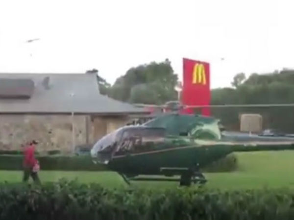 Hungry pilot lands his helicopter at McD
