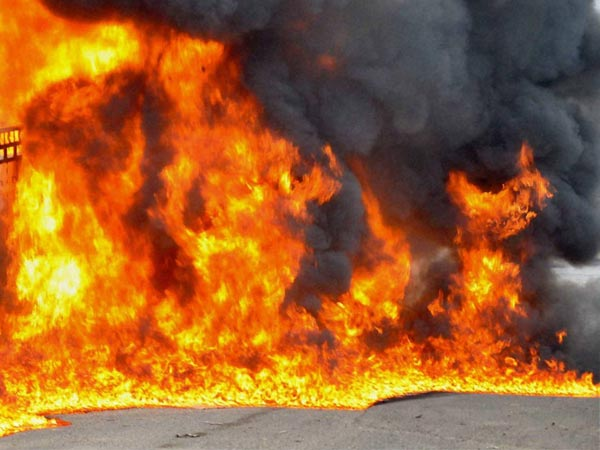 Naxals sets bus on fire, opposes road construction in Chhatisgarh's Jharigaon