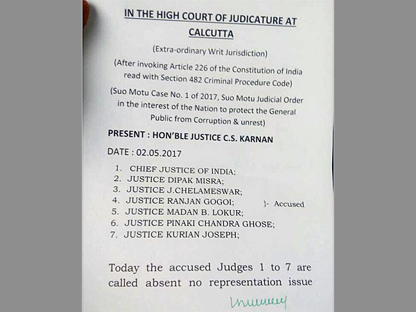 Justice Karnan orders non-bailable warrant against 7 judges including CJI