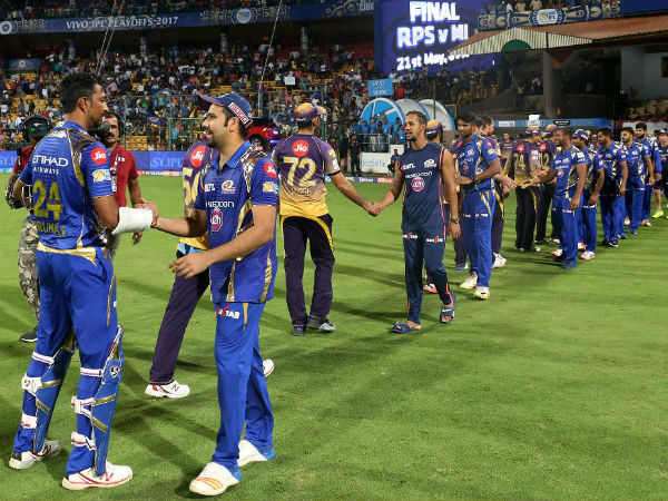Mumbai Indians captain Rohit Sharma greets Krunal Pandya after their victory in the 2nd qualifier match against Kolkata Knight Riders. Image Courtesy: BCCI