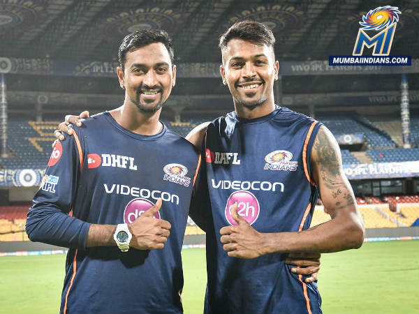 From left: Krunal and Hardik Pandya (Image courtesy: Mumbai Indians Twitter handle)