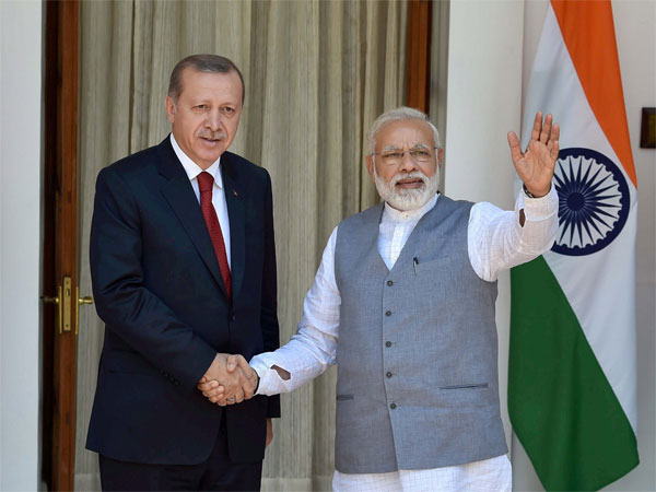 Prime Minister Narendra Modi with Turkish President Recep Tayyip Erdogan before a meeting at Hyderabad house in New Delhi on Monay. PTI Photo