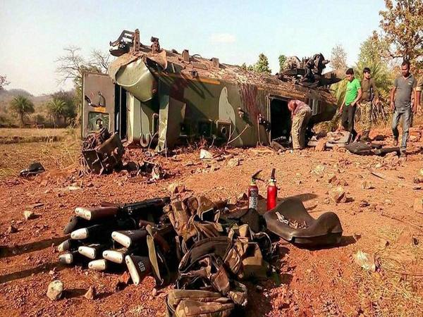 File photo of a vehicle after naxal attack at Madadi village in Dantewada district