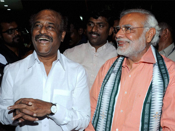 BJP Prime Ministerial candidate Narendra Modi with superstar Rajinikanth at his residence in Chennai on Sunday.