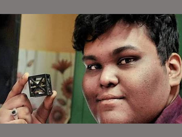 Rifath Sharook, and 18 year old from Tamil Nadu built a satellite stands at 64 grams and fits into a four centimeter cube