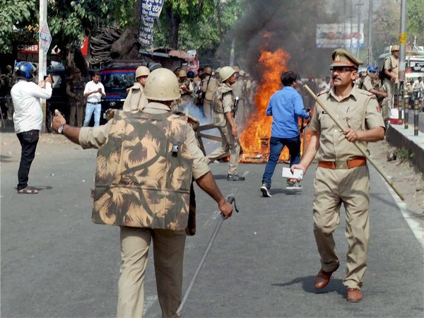 Police in action after a violence broke out during an Ambedkar Jayanti Shobhayatra in Saharanpur last month. (Image credit - PTI)