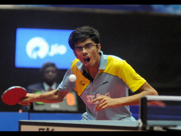 File photo: India's Table tennis player Manav Thakkar in action.