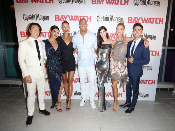 The Rock (centre) with Baywatch crew (Image courtesy: Baywatch Twitter handle)