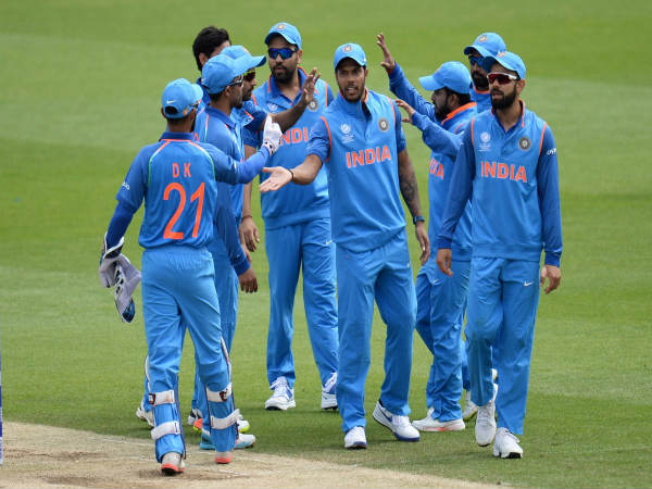Indian players celebrate (Image courtesy: ICC Twitter handle)