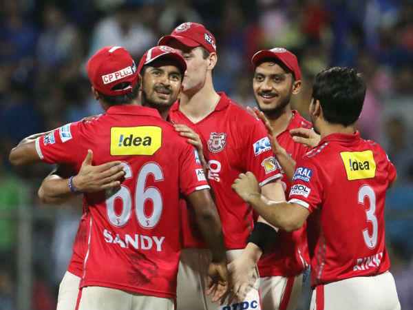 Kings XI Punjab players celebrate after winning the match against Mumbai Indians. Image Courtesy: BCCI