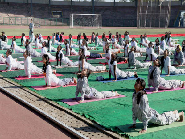 File photo: Students perform Yoga