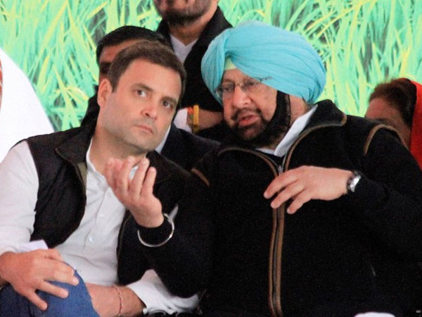 File photo of Congress vice-president Rahul Gandhi and Punjab Chief Minister Captain Amarinder Singh.