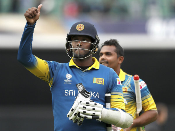 Angelo Mathews celebrates Sri Lanka's victory over India. Also seen is Asela Gunaratne