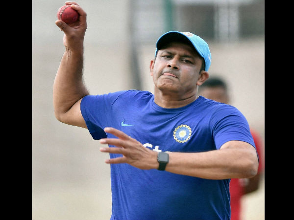 File photo: Anil Kumble bowling in the nets to Indian batsmen
