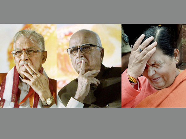 Senior BJP leaders L K Advani, Murli Manohar Joshi and Uma Bharti