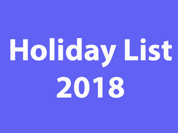 Holiday list 2018 for central government employees - Oneindia