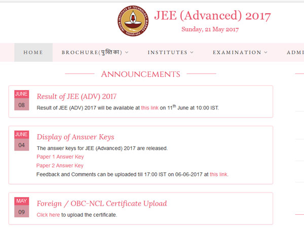JEE advanced results out on website
