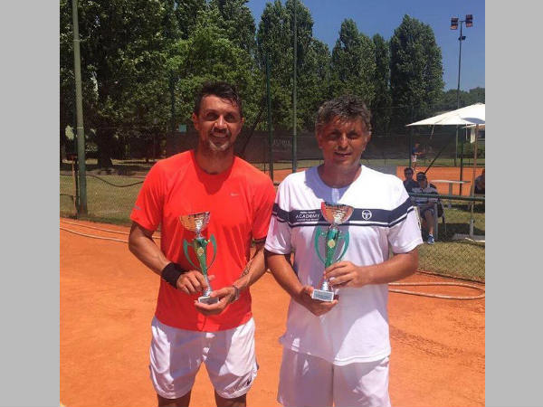 Paolo Maldini (left) gearing up for Tennis tournament (Image courtesy: Paolo Maldini Facebook Page)