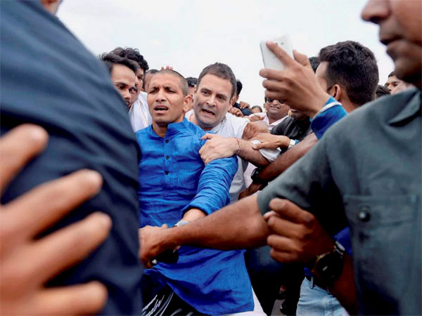 Congress vice-president Rahul Gandhi rides pillion on a bike on his way to Madhya Pradesh's Mandsaur, the epicenter of violent farmer protests that have escalated over the death of five in police firing, in Neemuch