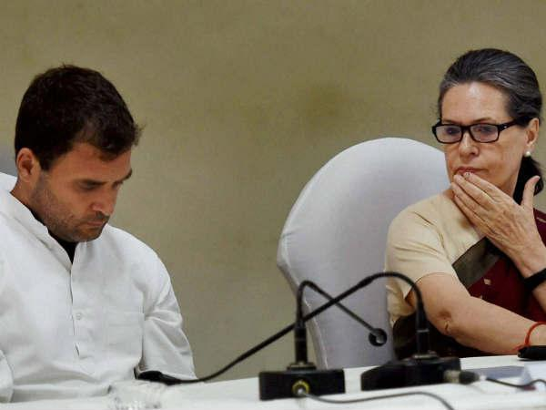 Sonia Gandhi along with Rahul Gandhi