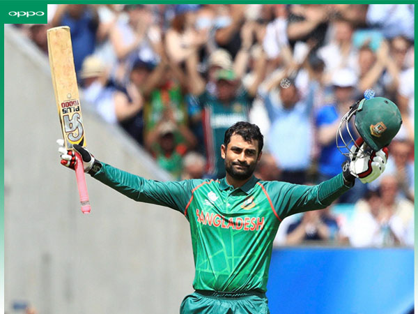 Tamim Iqbal celebrates his ton. A OPPO moment of the match