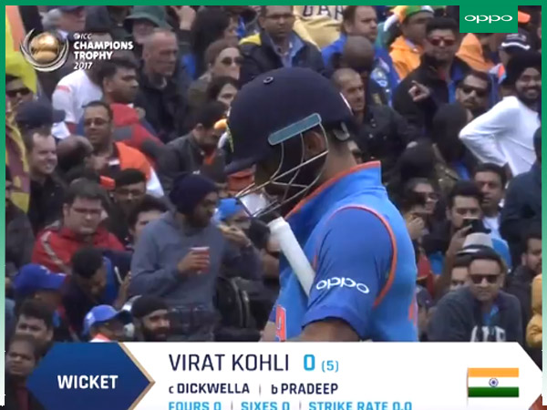 Virat Kohli departs for duck