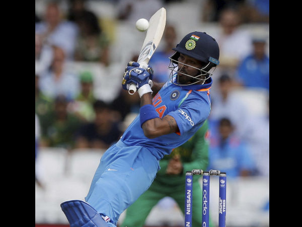 Hardik Pandya plays a shot from the bowling of Pakistan's Hassan Ali during the ICC Champions Trophy final.