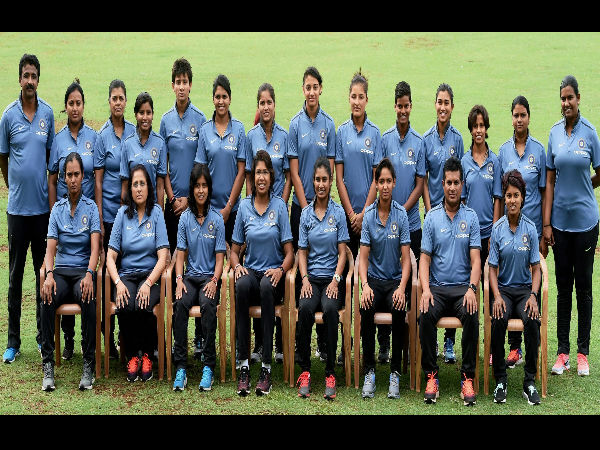 Indian women's cricket team players pose for a photo during a pre-departure media conference as the team leaves for the ICC Women's World Cup.