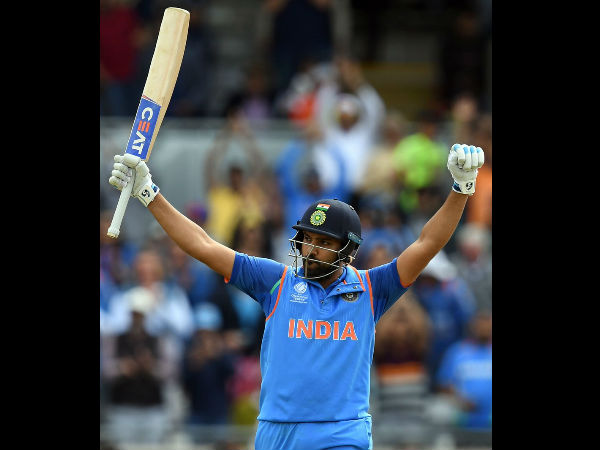 Rohit celebrates his ton against Bangladesh in Champions Trophy semi-final