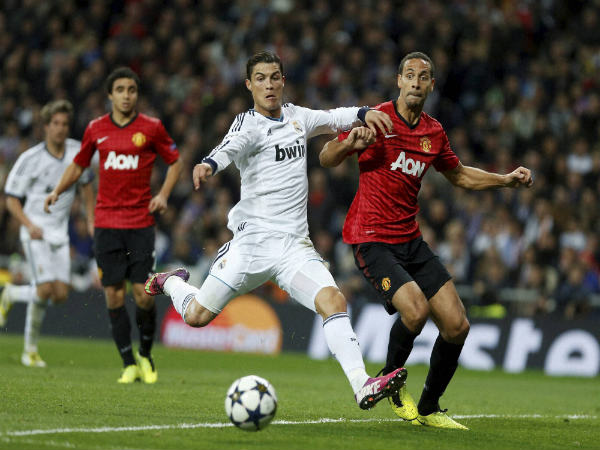 File photo: Cristiano Ronaldo (centre) in action against Manchester United