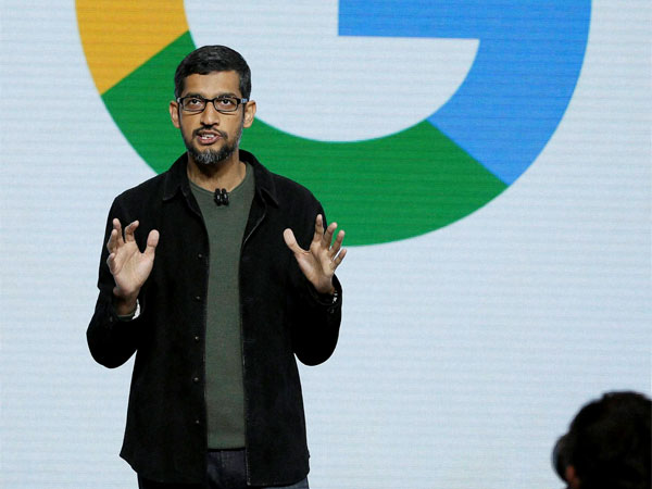 Google CEO Sundar Pichai speaks during a product event. PTI file photo