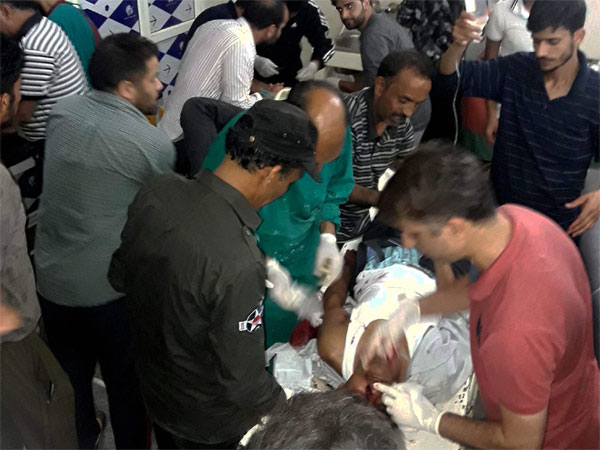 Injured being treated in a hospital after militants opened fire on the Amarnath Yatra in which some pilgrims were killed many injured in Anantnag in Jammu and Kashmir