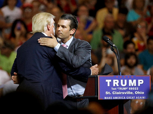 Trump's eldest son was promised damaging info about Hillary Clinton