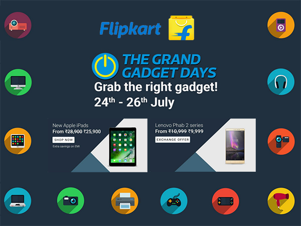 Flipkart's 'The Grand Gadget Days' (24th - 26th July) Up To 80% Discount on Products!